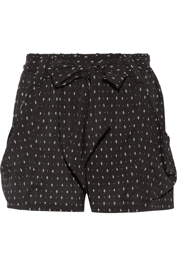 Stroll printed stretch-crepe shorts