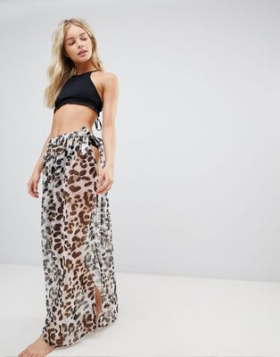 South Beach Leopard Print Maxi Tie Around Beach Skirt