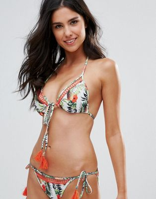 Playful Promises Pineapple Print Bikini Top With Tassel Detail