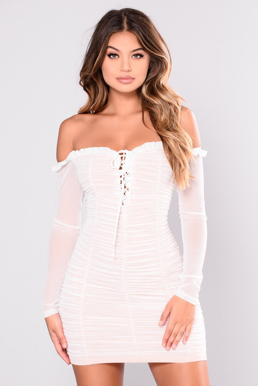 Maura Mesh Dress – White