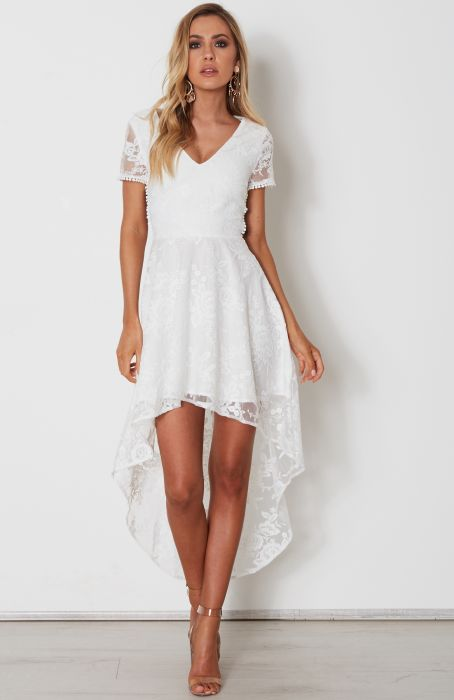 Shay High Low Dress White