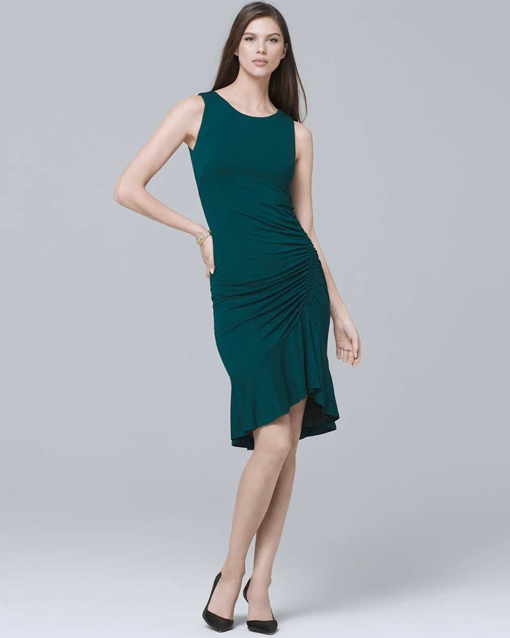 RUCHED RUFFLE-HEM KNIT SHEATH DRESS