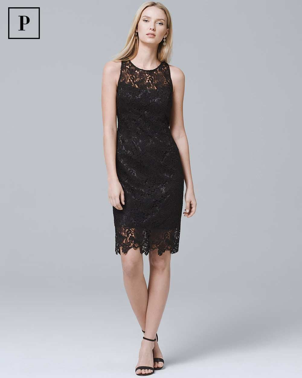 PETITE SLEEVELESS BLACK LACE SHEATH DRESS