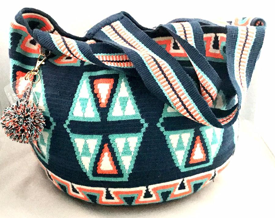 Wayuu Bag MOCHILON Blue-Orange-White