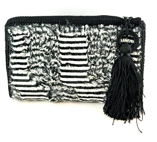 Small Faux Fur Fabric Clutch Zebra BLACK