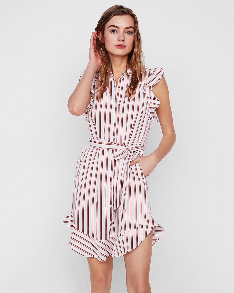 Stripe Ruffle Hem Shirt Dress
