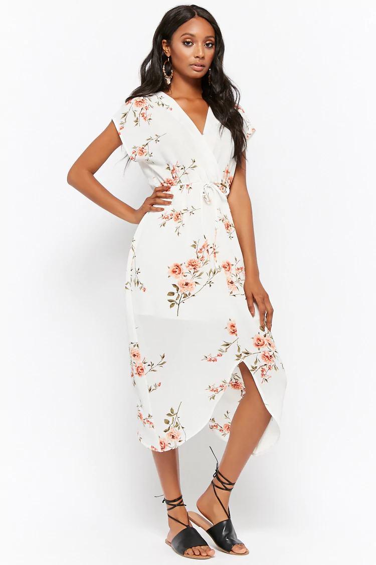 Textured Floral Surplice Split-Hem Dress