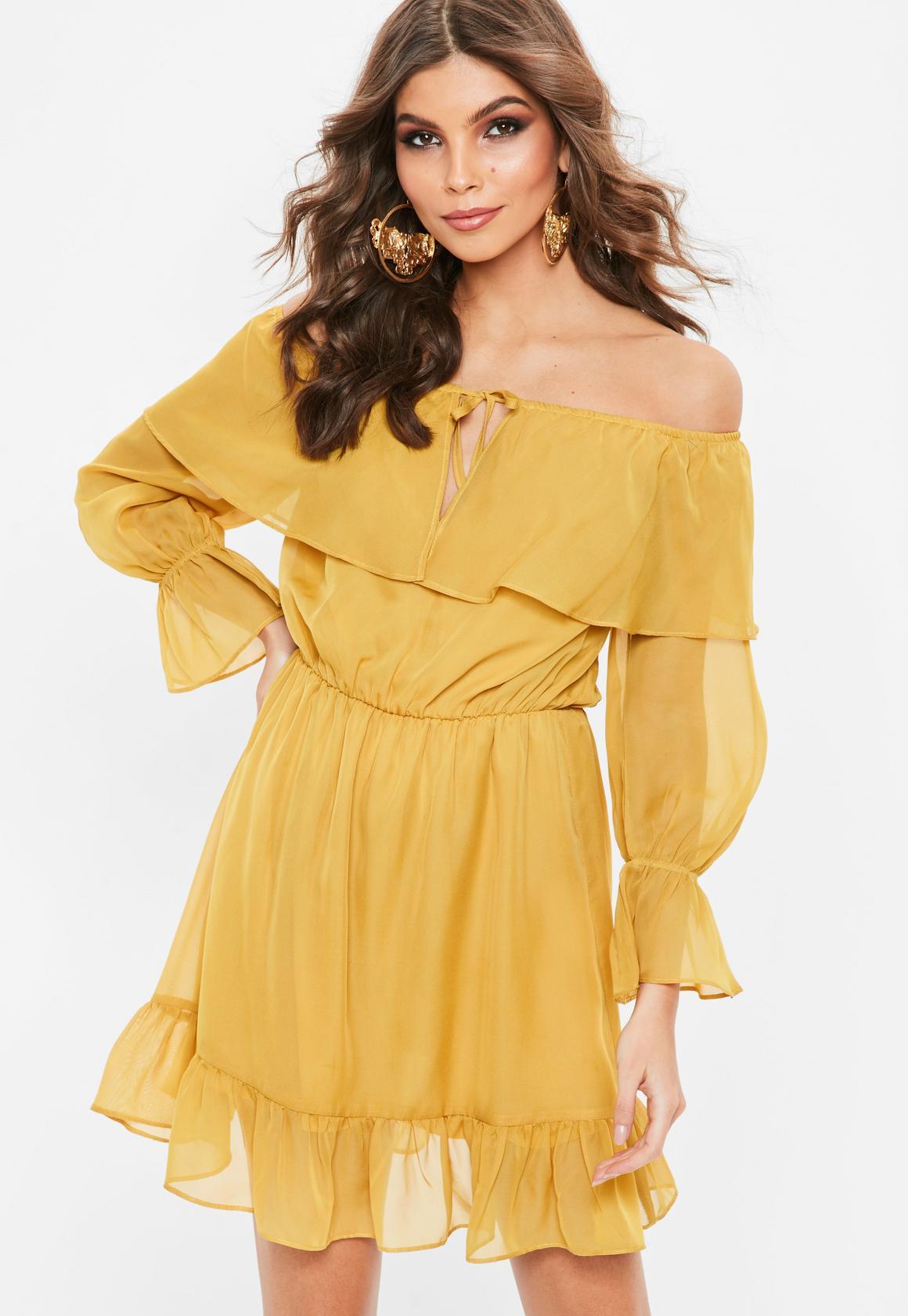 mustard yellow chiffon frill gypsy sundress