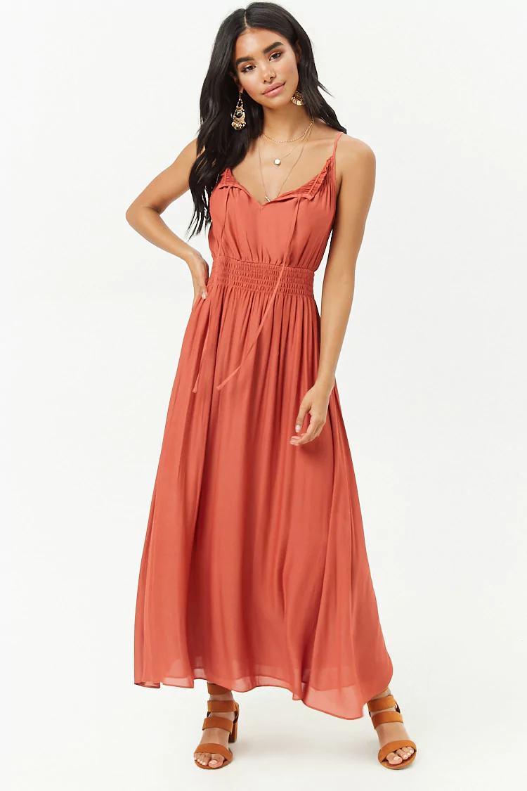 Smocked Split-Neck Maxi Dress