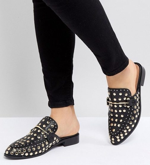Steve Madden Laaura Black Leather Studded Flat Mules