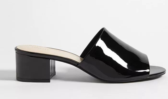 Faux Patent Leather Slide Sandals