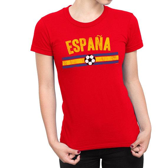 Womens ESPANA Spain Distressed Country Football T-Shirt