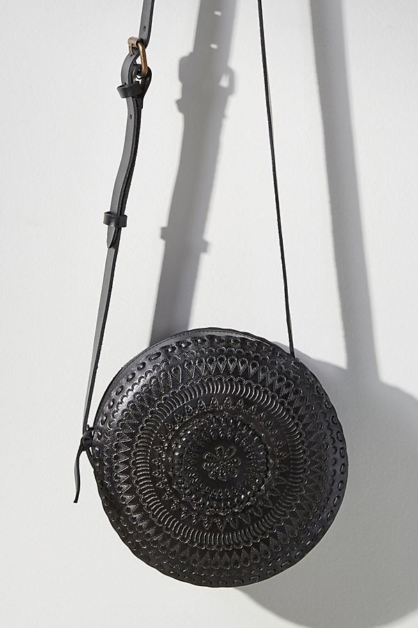 Anthropologie Embossed Leather Circle Bag