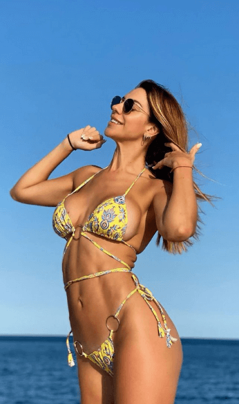 two piece yellow bikini