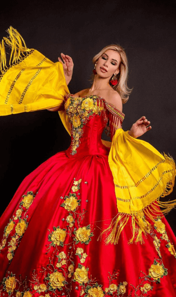 Floral red and yellow gown
