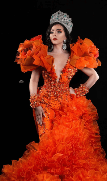 Orange puffy gown photo