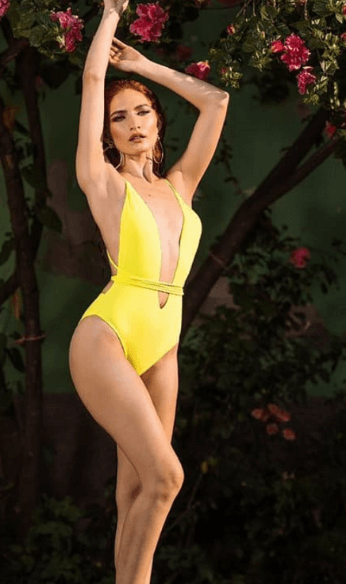 yellow one piece bikini