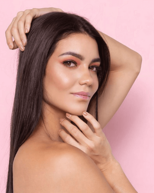 Pink backdrop natural look