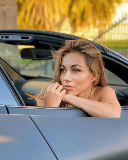 Mila in car photo