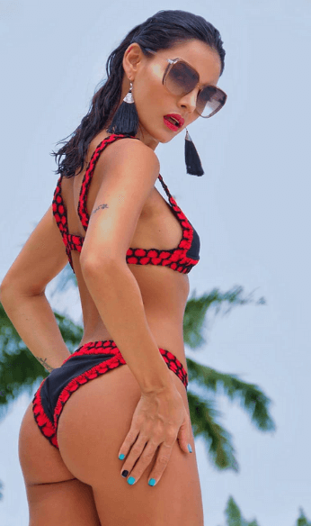 red and black swimsuit