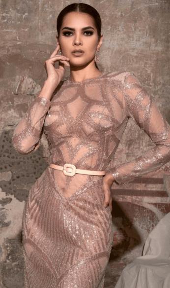 Beige dress model photo