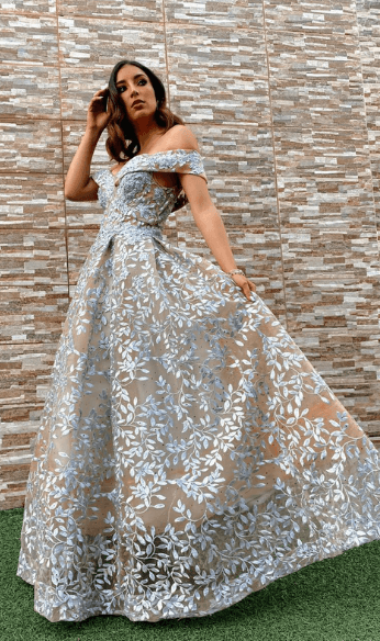 Grey and beige gown