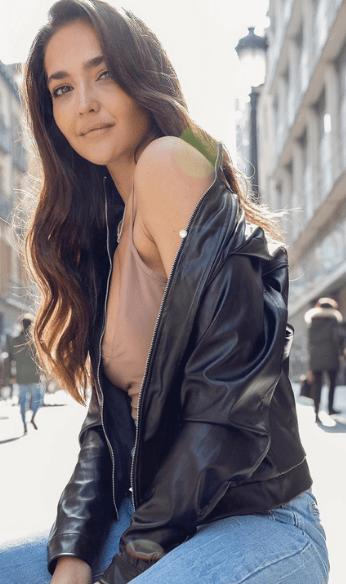 Paulina wearing leather jacket