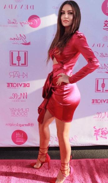 Rianna red silk dress