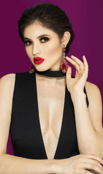 purple background and black dress