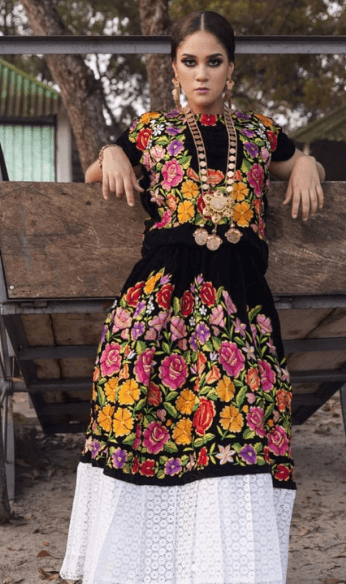 Maria traditional Mexican outfit