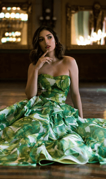 Green and white gown