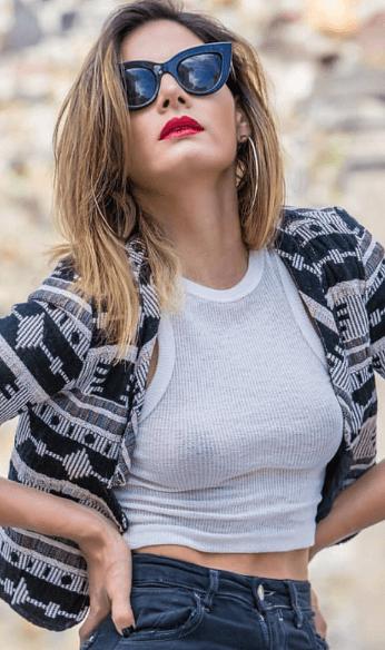 white crop top with pattern blazer