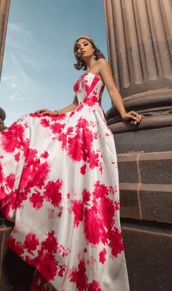 White and pink gown