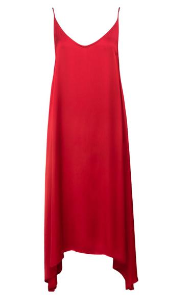 Handmade Red Dress Satin Naked Back Plunging