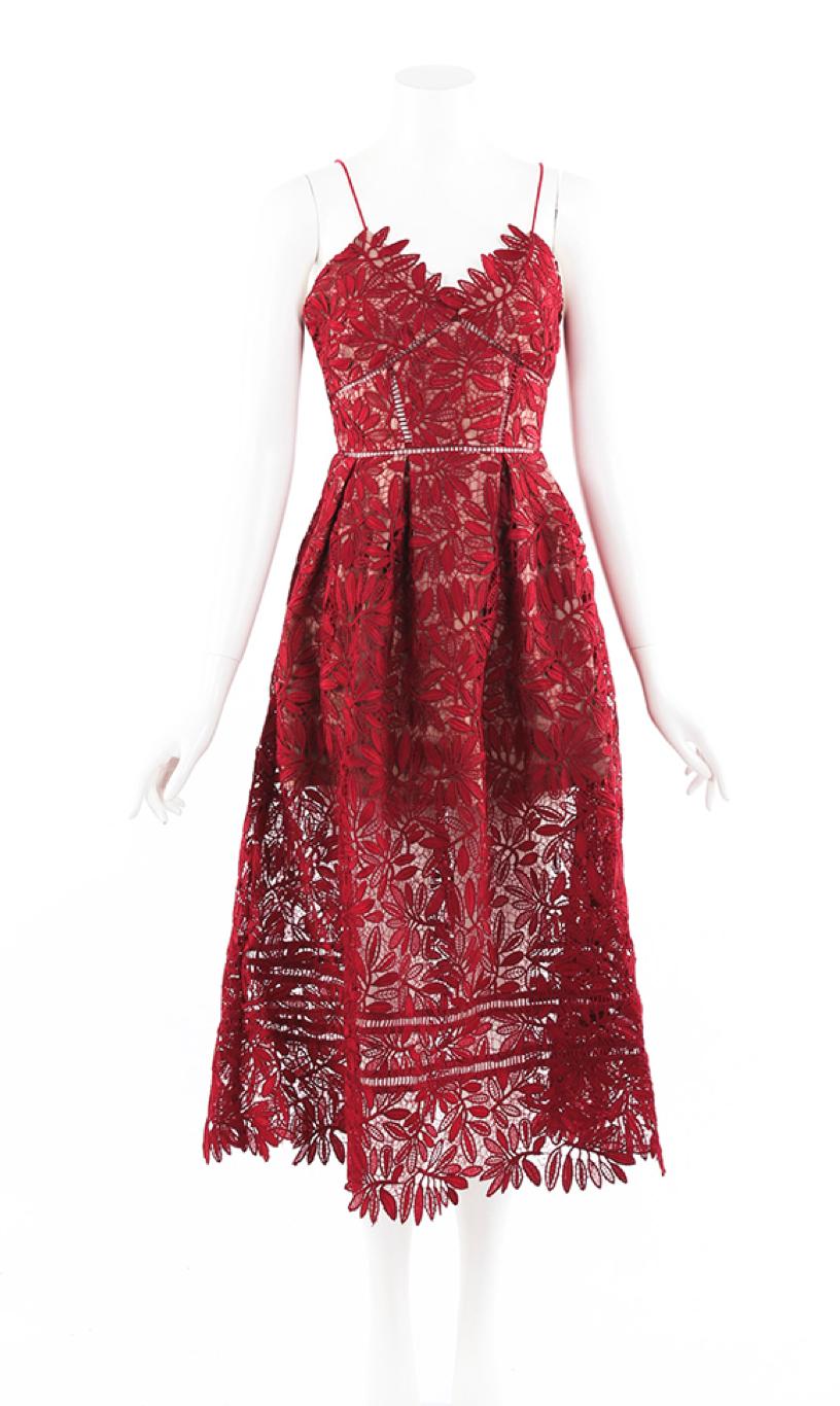 Azaelea Red Guipure Lace Midi Dress