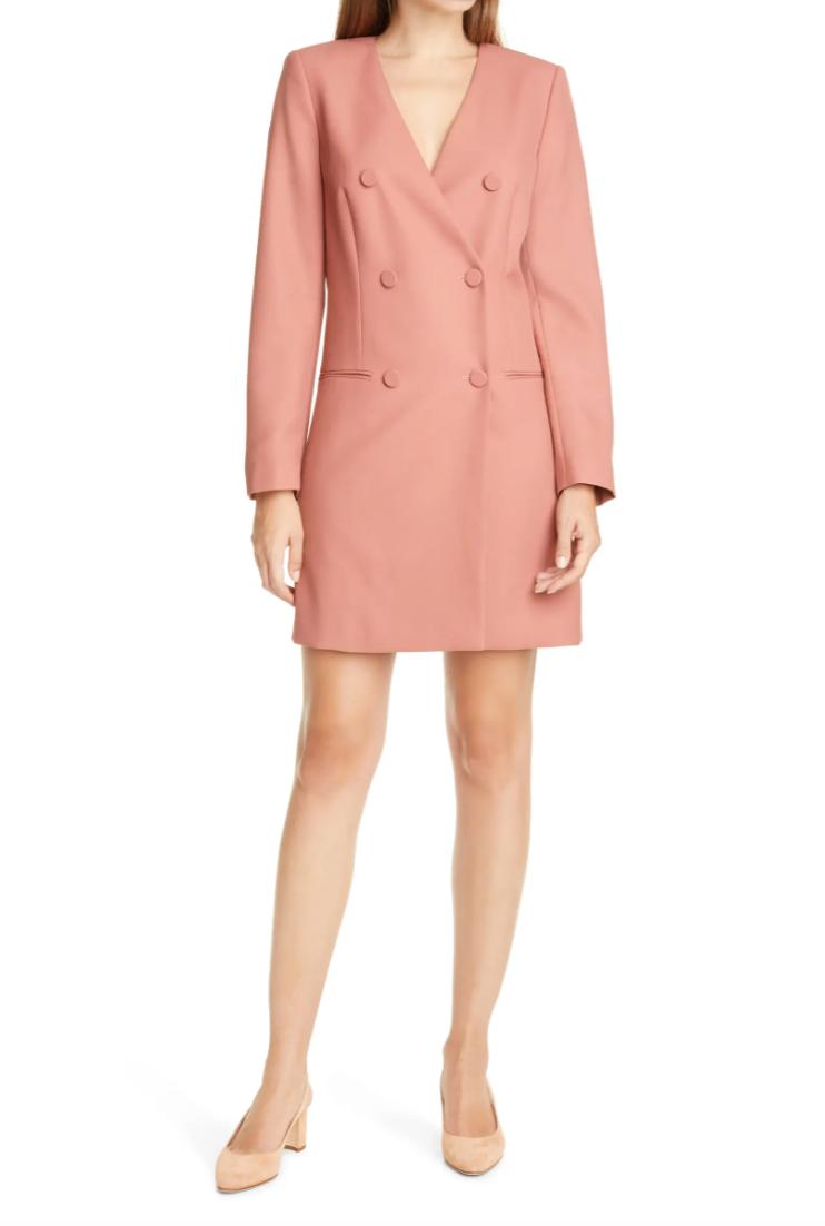 Long Sleeve Double Breasted Wool Blazer Dress