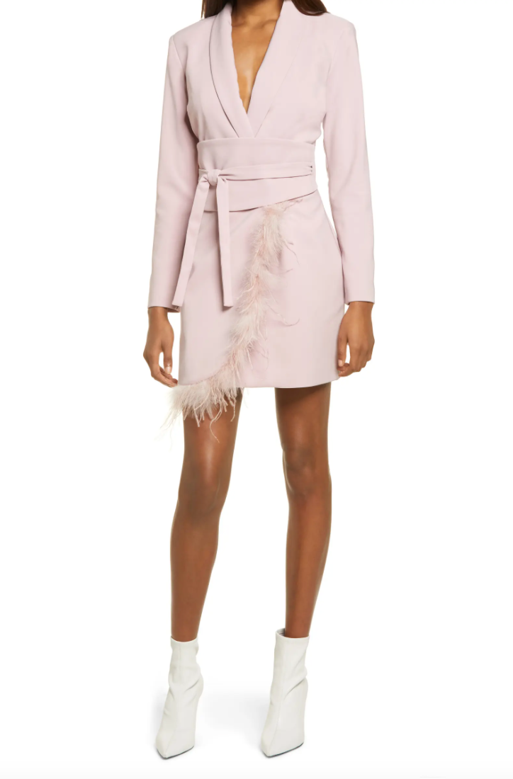 Feather Hem Long Sleeve Blazer Dress