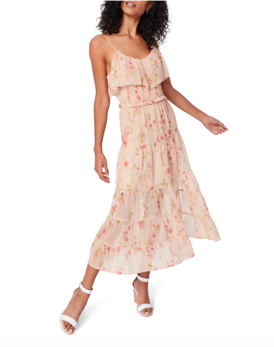 Kalani Floral Print Midi Dress