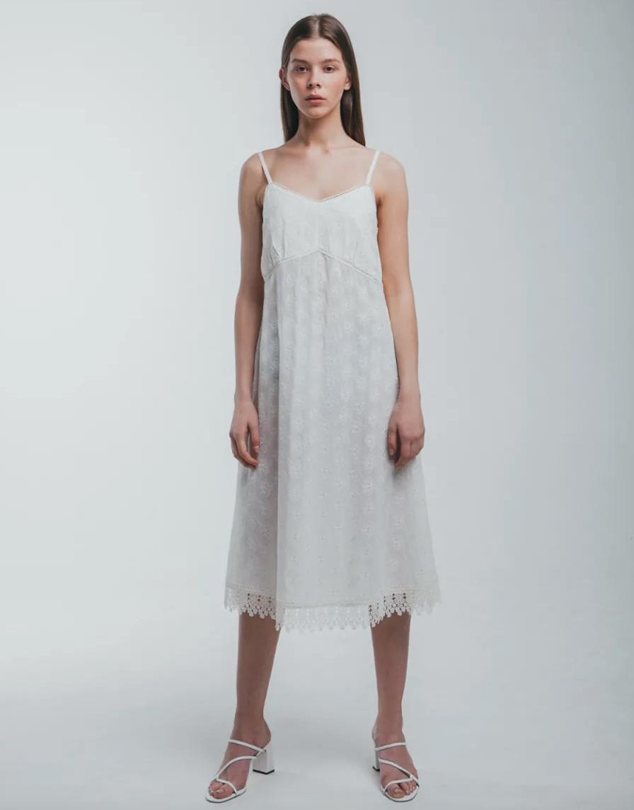White Cotton Lace Midi Dress