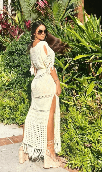 Kathiria wearing white summer dress