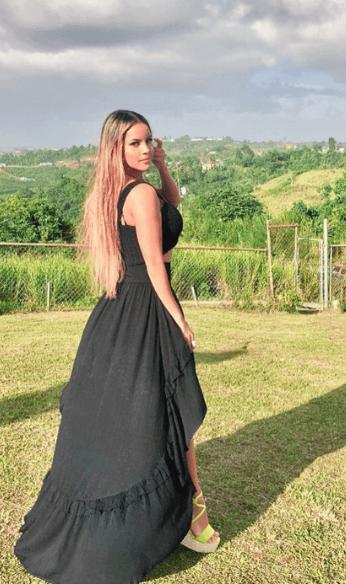 Kathiria in black dress